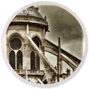 Flying Buttress At Notre Dame Round Beach Towel