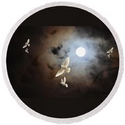 Flying By Moonlight Round Beach Towel