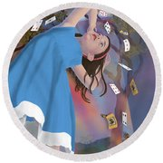 Flying Cards Dissolve Alice's Dream Round Beach Towel