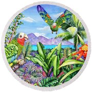 Flying Colours Round Beach Towel by Carolyn Steele