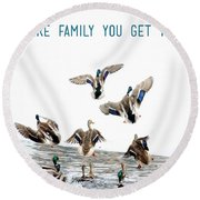 Flying Ducks And A Friends Quote Round Beach Towel