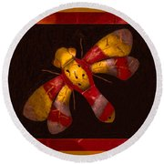 Flying Fantasies Of Light Abstract Painting Round Beach Towel