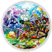 Flying Fish Tree And Bubbles Round Beach Towel