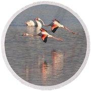 Flying Flamingos Round Beach Towel