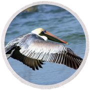 Flying Florida Pelican Round Beach Towel