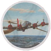 Coming Home - Boeing B-17 Flying Fortress Round Beach Towel