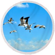 Flying Gulls Round Beach Towel