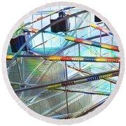 Flying Inside Ferris Wheel Round Beach Towel