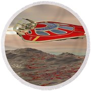 Flying Just Above The Waves Round Beach Towel