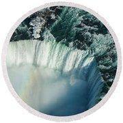Flying Over Icy Niagara Falls Round Beach Towel