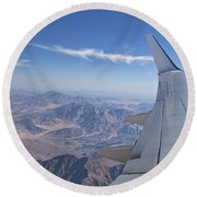 Flying Over Mount Sinai Round Beach Towel