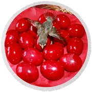 Flying Over Red Eggs Round Beach Towel