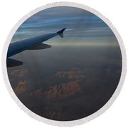 Flying Over The Mojave Desert At Dawn Round Beach Towel