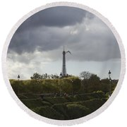 Flying Over The Tuileries Round Beach Towel