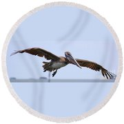 Flying Pelican Panorama Round Beach Towel