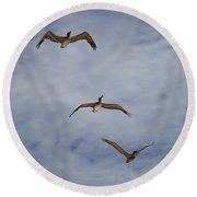 Flying Pelicans Round Beach Towel