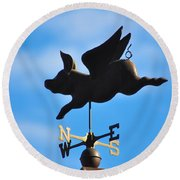 Flying Pig Round Beach Towel