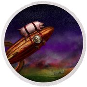 Flying Pig - Rocket - To The Moon Or Bust Round Beach Towel by Mike Savad