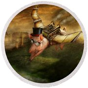 Flying Pig - Steampunk - The Flying Swine Round Beach Towel