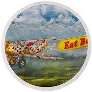 Flying Pigs - Plane - Eat Beef Round Beach Towel