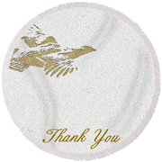 Flying Ruffed Grouse Thank You Round Beach Towel