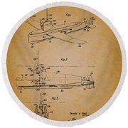 Flying Submarine Patent Round Beach Towel