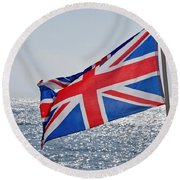 Flying The British Flag Round Beach Towel