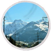 The Way To The Alps Round Beach Towel