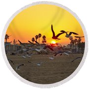Flying To The Rising Sun Round Beach Towel