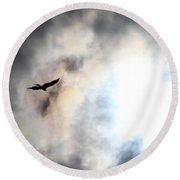 Flying Towards The Light Round Beach Towel