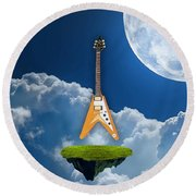 Flying V Guitar Round Beach Towel
