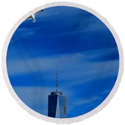 Flyover One World Trade Center Round Beach Towel