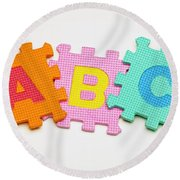 Foam Alphabet Shapes Round Beach Towel