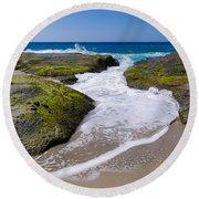 Wave Receding Round Beach Towel