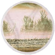 Fog Abstract 1 Round Beach Towel by Marty Koch