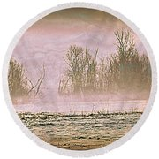 Fog Abstract 2 Round Beach Towel by Marty Koch