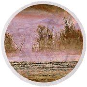 Fog Abstract 3 Round Beach Towel by Marty Koch