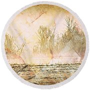 Fog Abstract 4 Round Beach Towel by Marty Koch