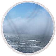 Fog Advances On The Oregon Coast Round Beach Towel