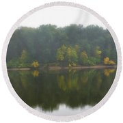 Fog Along The River Round Beach Towel