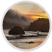 Fog And Fire Round Beach Towel by Adam Jewell