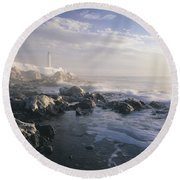 Fog And Rocky Shoreline In Winter With Round Beach Towel
