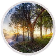 Fog At The Farm Round Beach Towel