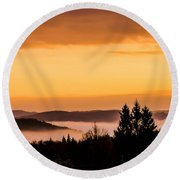 Fog Below Round Beach Towel