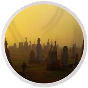 Looks Like Halloween Morning Scene Round Beach Towel