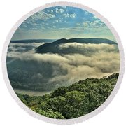 Fog In The Grand View Valley Round Beach Towel