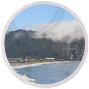 Fog On Pedro Point Round Beach Towel