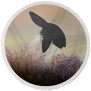 Fog On The Moor Round Beach Towel