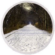 Fog On The Winter Macomb Orchard Trail Round Beach Towel