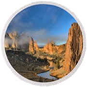 Fog Over Smith Rock Round Beach Towel